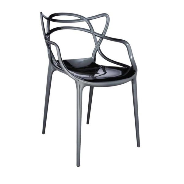 Masters Side Chair Metallic Titanium DeFrae Contract Furniture