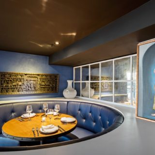 Banquette Seating Button Back Curved Booths in Navy Restaurant furniture by DeFrae Contract Furniture at Mala Indian Kitchen and Bar Canary Wharf London