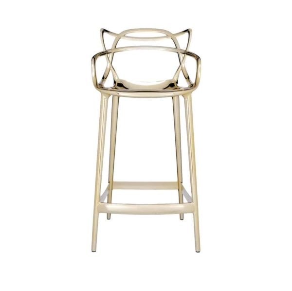 Masters Bar Stool Metallic from Kartell available at DeFrae Contract Furniture 75cms seat height Gold hero