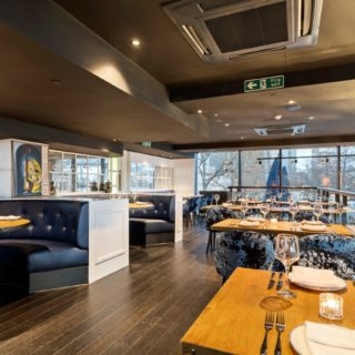 Restaurant furniture by DeFrae Contract Furniture at Mala Indian Kitchen and Bar Canary Wharf London