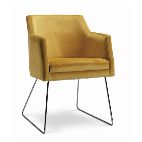 Sophia armchair with sled base at DeFrae Contract Furniture