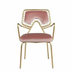 Planet S1 Armchair DeFrae Contract Furniture Pink with gold frame