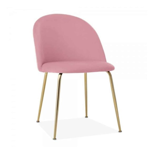 Heath Side Chair Brass Frame DeFrae Contract Furniture Blossom Pink