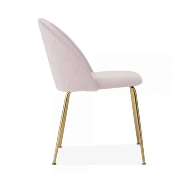 Heath Side Chair Brass Frame DeFrae Contract Furniture Pale Pink Side View