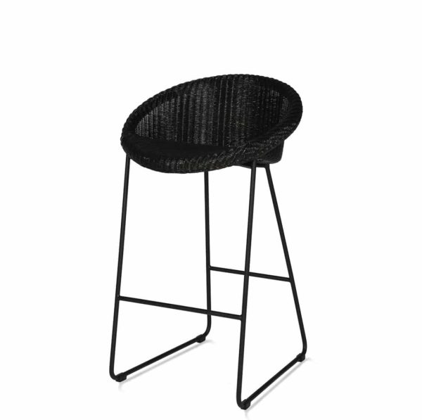 Joe counter stool Vincent Sheppard at DeFrae Contract Furniture with sled base black seat and black frame