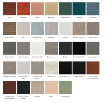 Titus lounge chair Vincent Sheppard at DeFrae Contract Furniture Fabric Colours