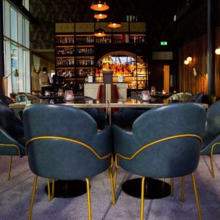 Bar Furniture by DeFrae Contract Furniture at Six Restaurant Trent Bridge Cricket Ground Louvre Armchairs
