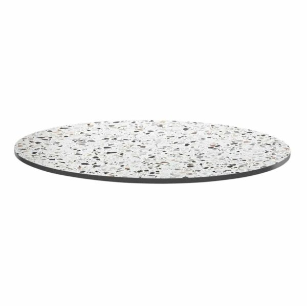 Extrema Mixed Terrazzo Effect Outdoor Tabletops DeFrae Contract Furniture Round