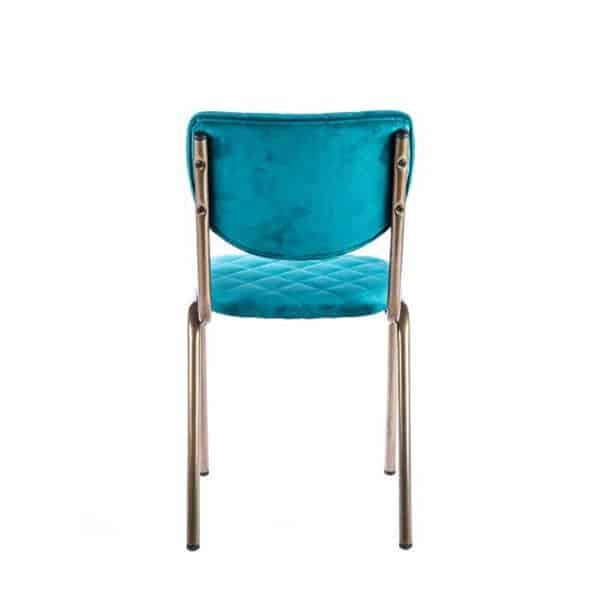 Isabella Side Chair Quilted Back and Brass Look Frame DeFrae Contract Furniture Aqua Back