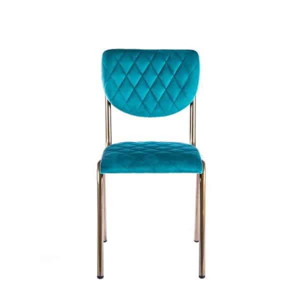 Isabella Side Chair Quilted Back and Brass Look Frame DeFrae Contract Furniture Aqua
