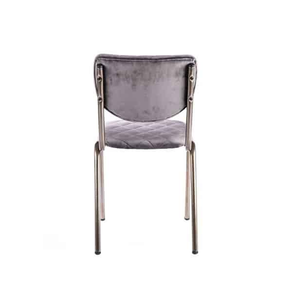 Isabella Side Chair Quilted Back and Brass Look Frame DeFrae Contract Furniture Grey Back