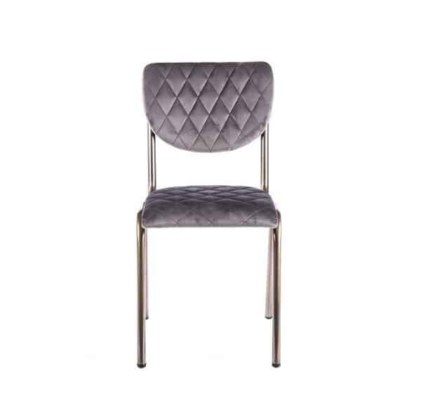 Isabella Side Chair Quilted Back and Brass Look Frame DeFrae Contract Furniture Grey