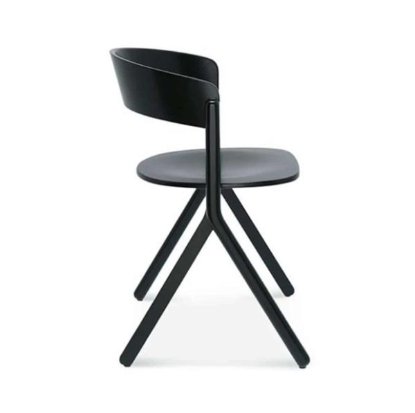 Signa Side Chair Curved Back DeFrae Contract Furniture Side View