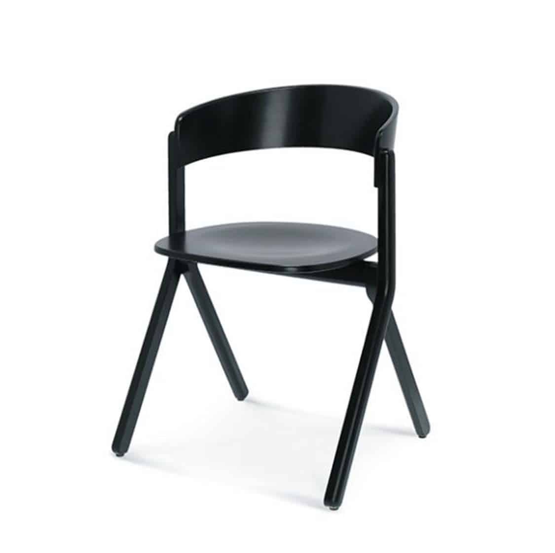 Signa Side Chair Curved Back DeFrae Contract Furniture Side View Black