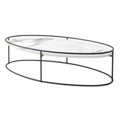 Atollo Coffee Tables by Calligaris at DeFrae Contract Furniture White Marble Black Frame