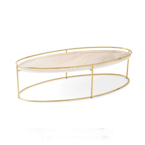 Atollo Coffee Tables by Calligaris at DeFrae Contract Furniture White Marble Brass Frame