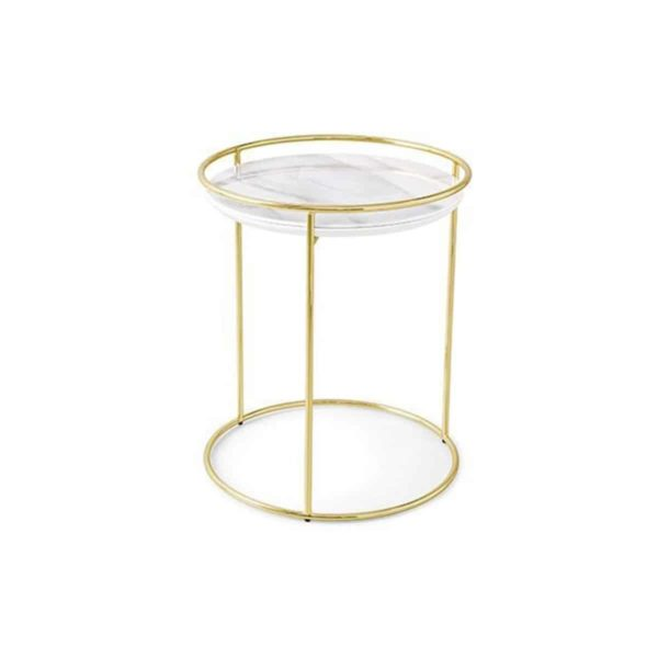 Atollo Side Tables by Calligaris at DeFrae Contract Furniture White Marble Brass Frame 2