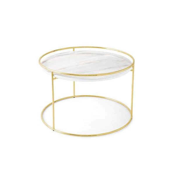 Atollo Side Tables by Calligaris at DeFrae Contract Furniture White Marble Brass Frame