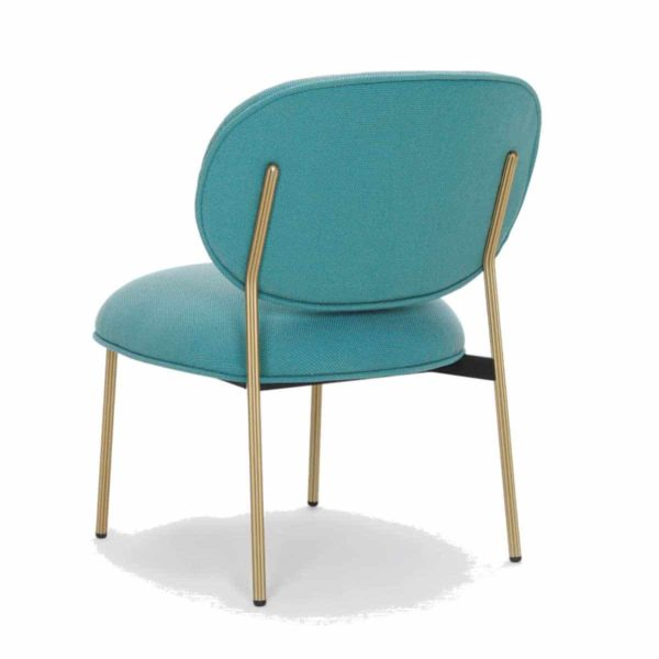 Blume 2951 Lounge Chair Pedrali at DeFrae Contract Furniture Blue with brass frame back view