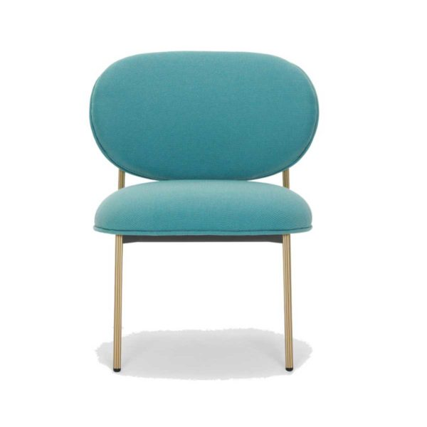 Blume 2951 Lounge Chair Pedrali at DeFrae Contract Furniture Blue with brass frame hero