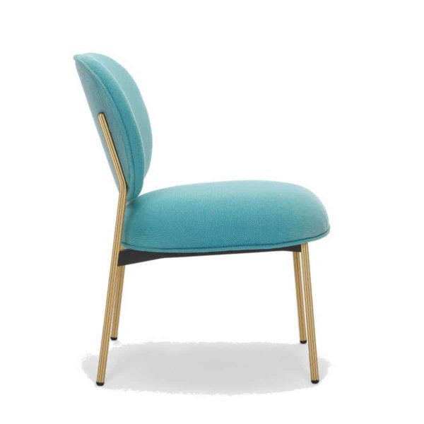 Blume 2951 Lounge Chair Pedrali at DeFrae Contract Furniture Blue with brass frame side view