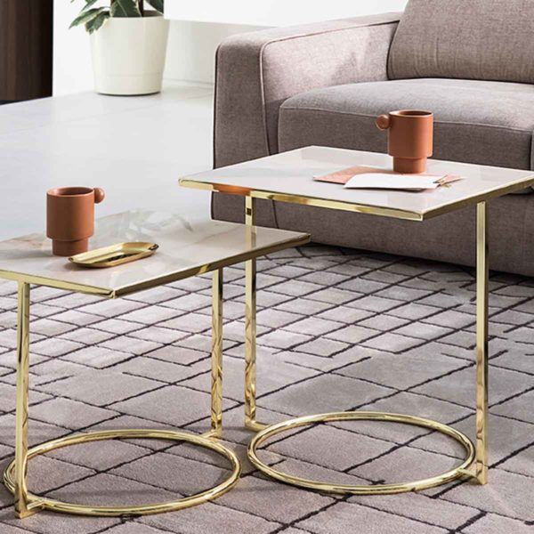 Daytona Occasional Table With Brass Frame and Marble Square Top Calligaris at DeFrae Contract Furniture in situ