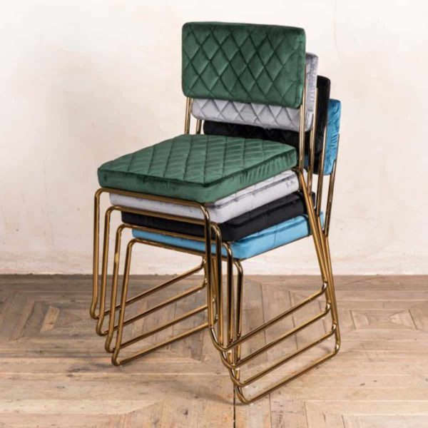 Marilyn Side Chair Quilted Back and Brass Look Frame DeFrae Contract Furniture Range Stackable