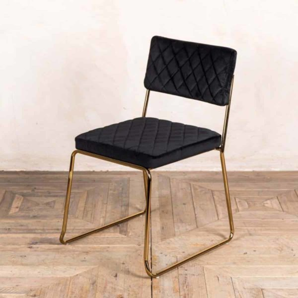 Marilyn Side Chair Quilted Back and Brass Look Frame DeFrae Contract Furniture Stackable Black