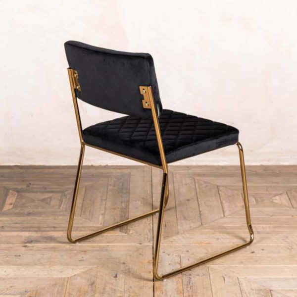 Marilyn Side Chair Quilted Back and Brass Look Frame DeFrae Contract Furniture Stackable Black Back View