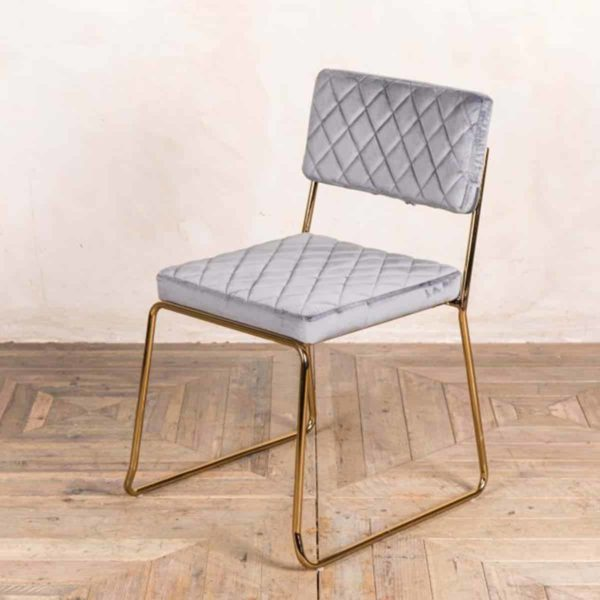 Marilyn Side Chair Quilted Back and Brass Look Frame DeFrae Contract Furniture Stackable Cool Grey