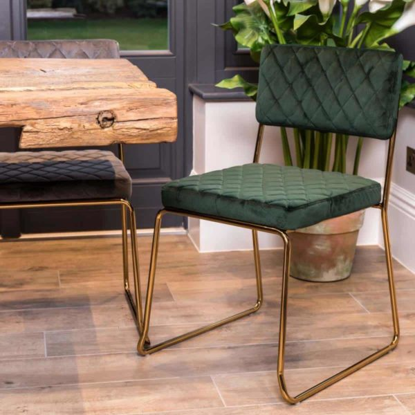 Marilyn Side Chair Quilted Back and Brass Look Frame DeFrae Contract Furniture Stackable In Situ