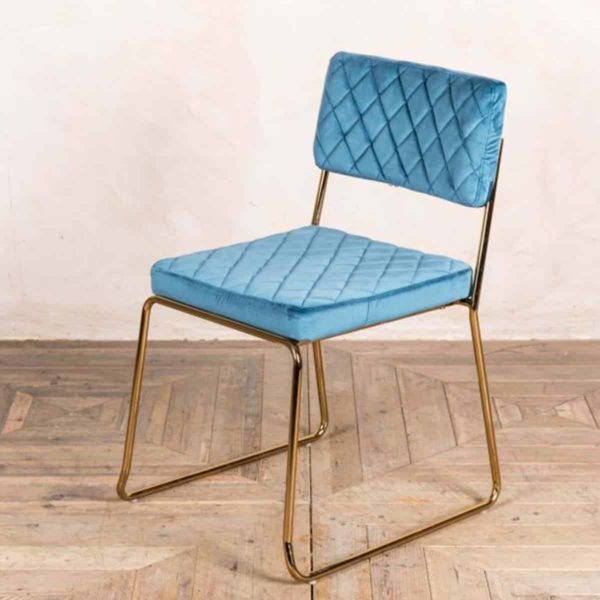 Marilyn Side Chair Quilted Back and Brass Look Frame DeFrae Contract Furniture Stackable Ocean Teal Blue