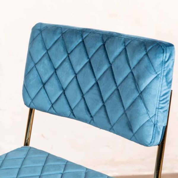 Marilyn Side Chair Quilted Back and Brass Look Frame DeFrae Contract Furniture Stackable Ocean Teal Blue Seat