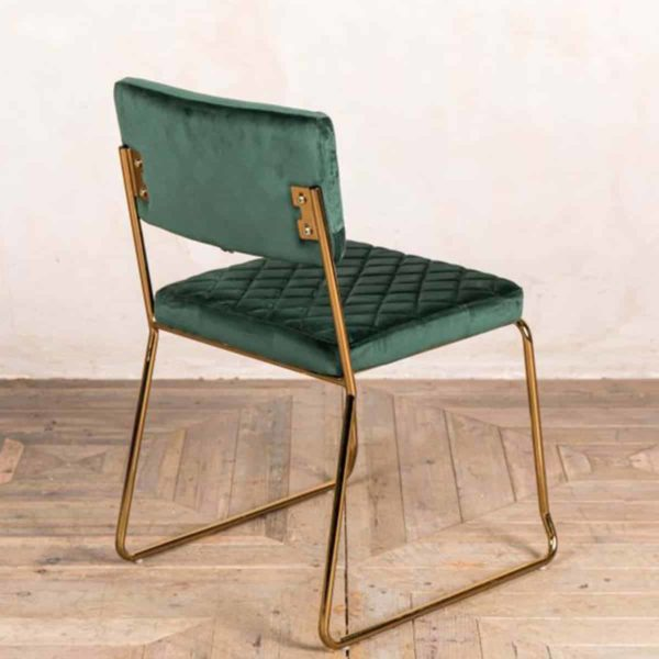 Marilyn Side Chair Quilted Back and Brass Look Frame DeFrae Contract Furniture Stackable Pine Green Back