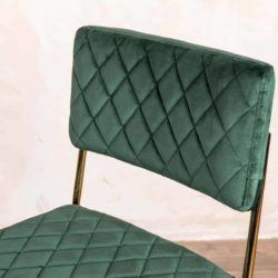 Marilyn Side Chair Quilted Back and Brass Look Frame DeFrae Contract Furniture Stackable Pine Green Close Up