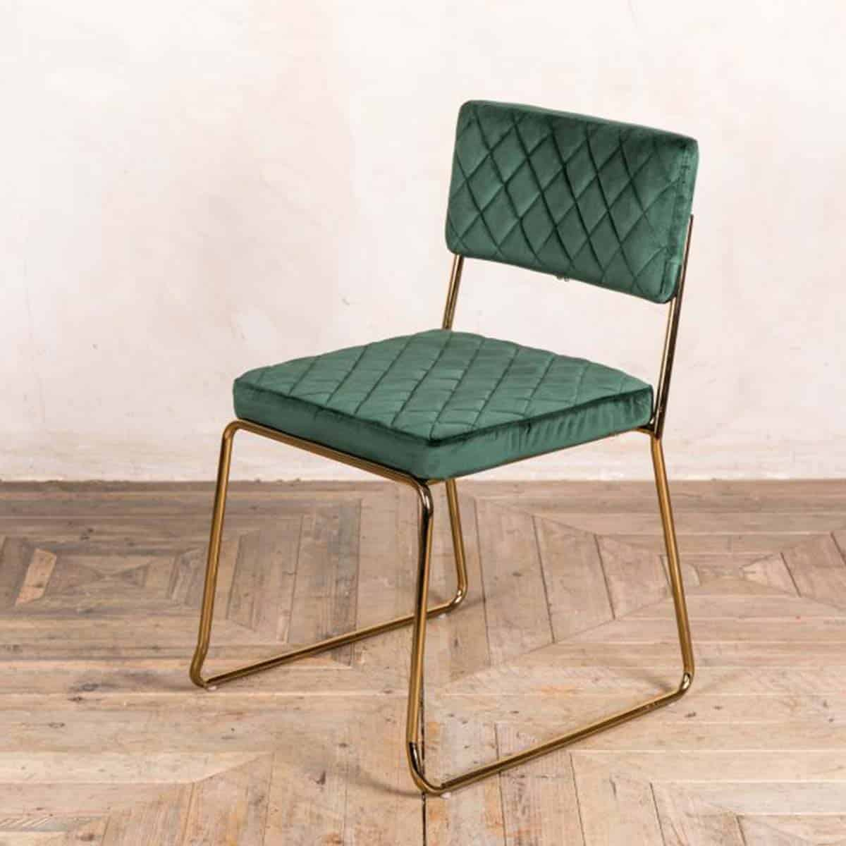Marilyn Side Chair Quilted Back and Brass Look Frame DeFrae Contract Furniture Stackable Pine Green