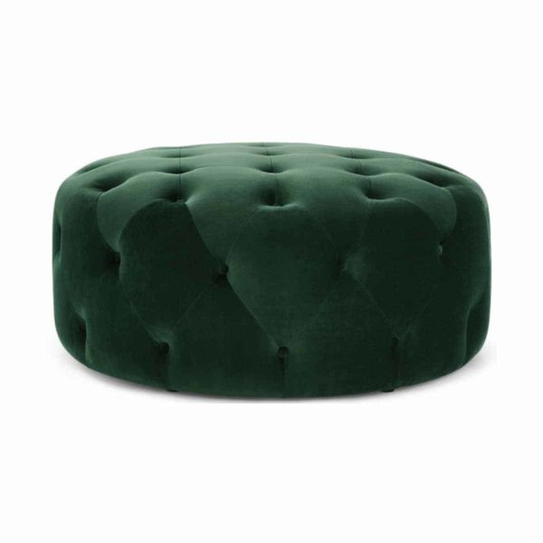 Ruby Round Button Back Pouf Green DeFrae Contract Furniture