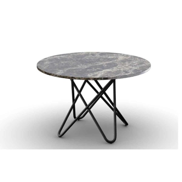 Stellar Table With Black Metal Frame and Black Marble Round Top Calligaris at DeFrae Contract Furniture