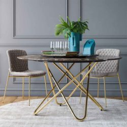 Stellar Table With Brass Frame and Black Marble Round Top Calligaris at DeFrae Contract Furniture