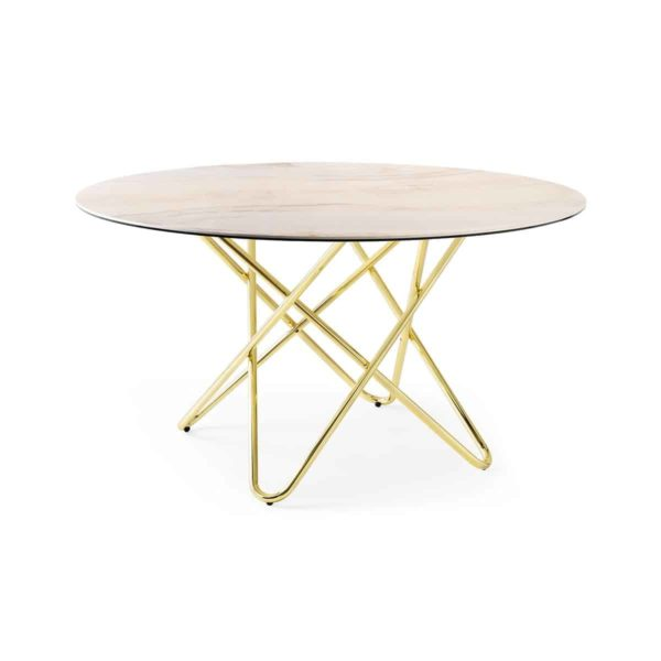 Stellar Table With Brass Frame and Marble Round Top Calligaris at DeFrae Contract Furniture