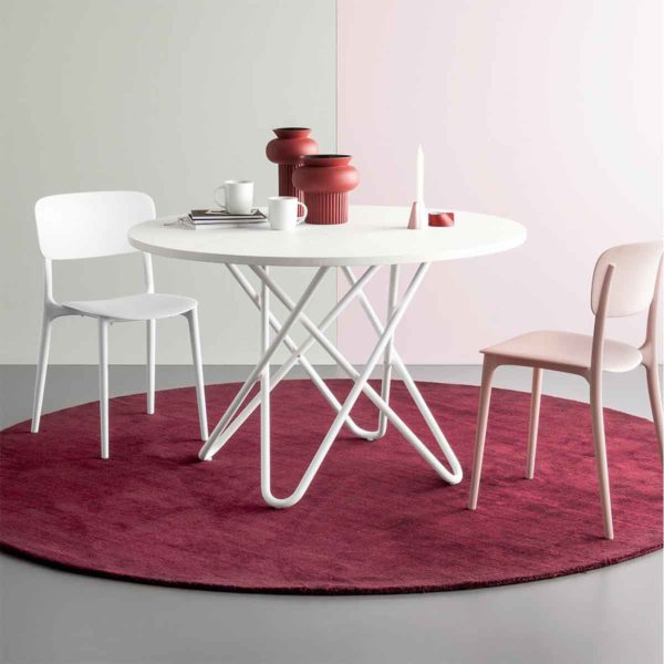 Stellar Table With White Metal Frame and Round Top Calligaris at DeFrae Contract Furniture