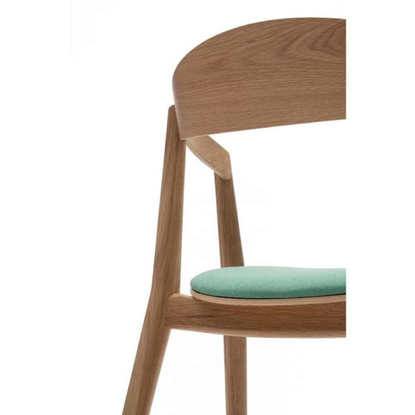 Amore Armchair Oak Frame DeFrae Contract Furniture Close Up Back