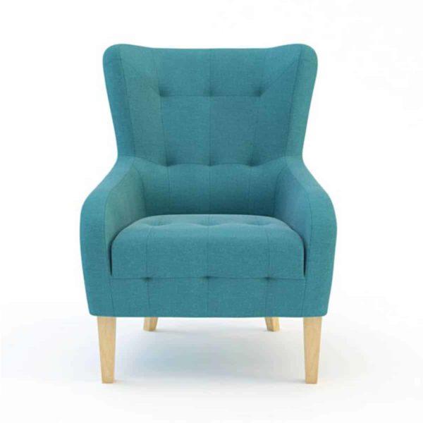 Juliet lounge armchair button detail DeFrae Contract Furniture Aqua