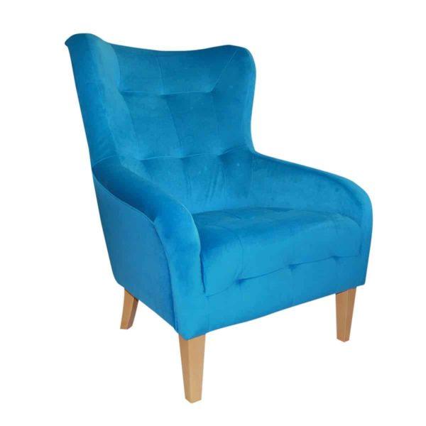 Juliet lounge armchair button detail DeFrae Contract Furniture Blue