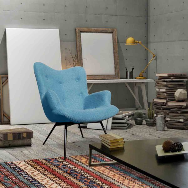 Malmo wingback armchair baby blue button DeFrae Contract Furniture in situ