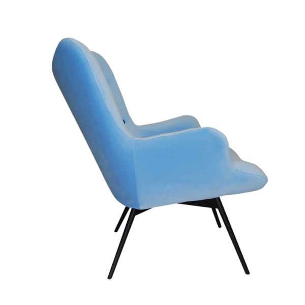 Malmo wingback armchair baby blue button DeFrae Contract Furniture side view