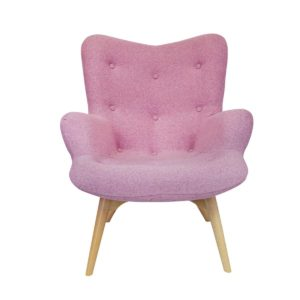Malmo wingback armchair baby pink button DeFrae Contract Furniture