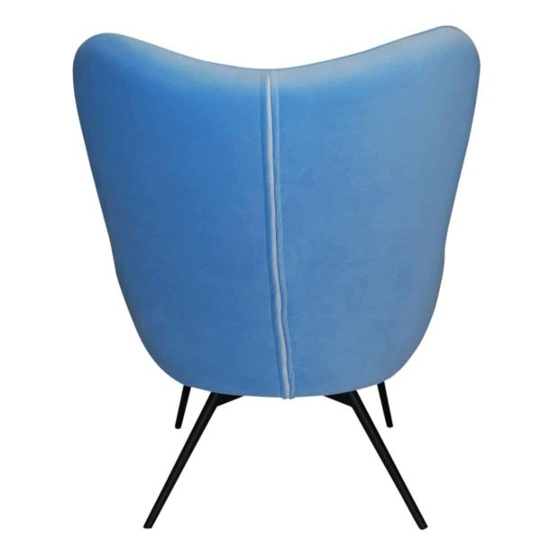 Malmo wingback armchair blue button DeFrae Contract Furniture back view