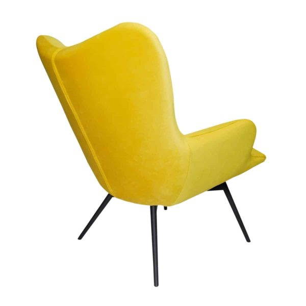 Malmo wingback armchair mustard yellow button DeFrae Contract Furniture back view