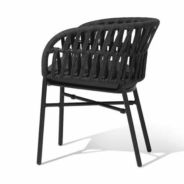Tahiti Armchair DeFrae Contract Furniture for Outside Use Rope Effect Black